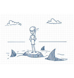 Business woman doodle standing on rock with sharks vector