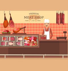 butcher man at meat store showcase with ham vector image