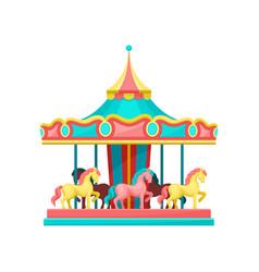 Carousel with horses amusement park element vector