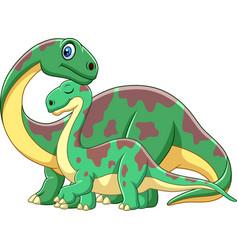 Cartoon brontosaurus with her baby vector