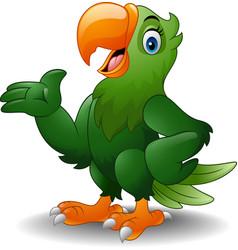 cartoon happy parrot presenting vector image