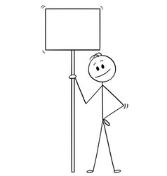 cartoon of smiling man holding big and high empty vector image