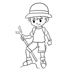 Character boy climbing style design vector