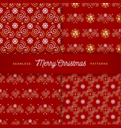 christmas patterns seamless trendy line golden vector image