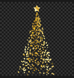 christmas tree of stars on the transparent vector image