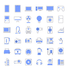 colored line home appliances icons vector image