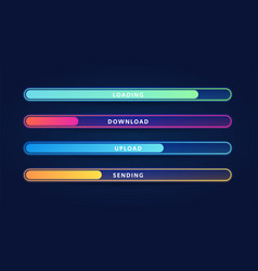 colorful loading bar set modern web element vector image