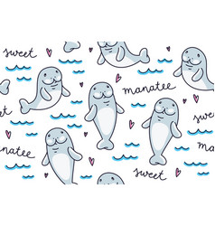 cute cartoon manatee hand drawn seamless pattern vector image