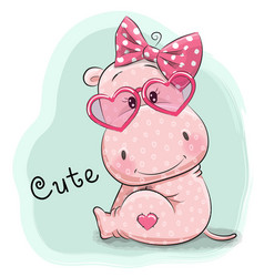 cute drawing hippo girl vector image