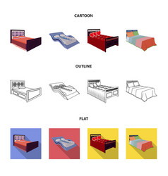 different beds cartoonoutlineflat icons in set vector image