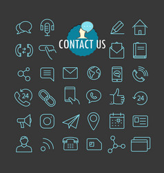 Different contact icons collection web and mobile vector