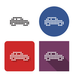 Dotted icon car in four variants with short vector