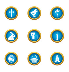 easter day icons set flat style vector image