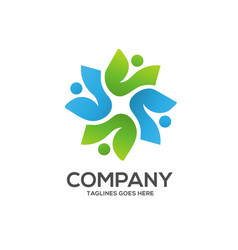 eco environment green leaf nature community logo vector image