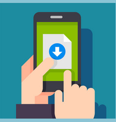 file download button on smartphone screen vector image