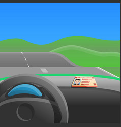 First car drive concept background cartoon style vector