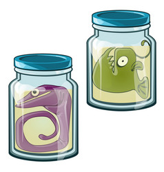 Fish stored in formalin strange creatures in banks vector