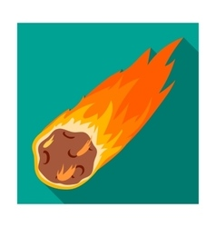 Flame meteorite icon in flat style isolated on vector