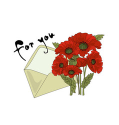 Floral poppy and letter clip arts color vector