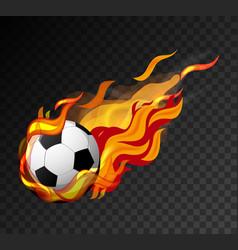 football with big flame shooting on black vector image