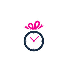 Gift time logo icon design vector