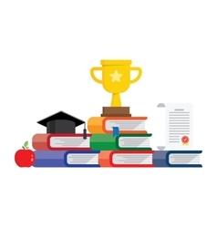 Graduation awards pedestal with cup graduate cap vector