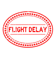 Grunge red flight delay word oval rubber seal vector