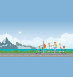 happy family cycling tandem bicycle in summer vector image