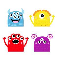happy halloween monster icon set cute kawaii vector image