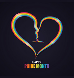 heart shape with couple kiss in rainbow pride vector image