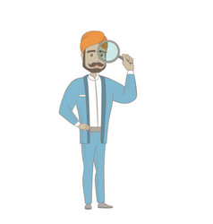 Hindu businessman with magnifying glass vector
