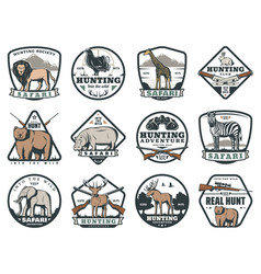 Hunting sport or safari adventure icons vector
