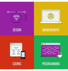infographic icon set of design management coding vector image