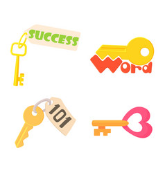 key icon set cartoon style vector image