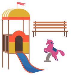 kids playground equipment with bench slides and vector image