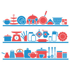 kitchen shelves with utensils for cooking vector image