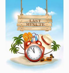 Last minute summer vacation background alarm vector