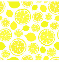 Lemons background painted pattern vector