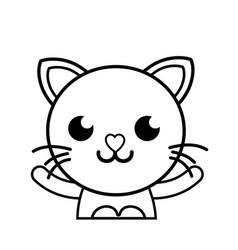 Line smile cat adorable feline animal vector