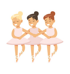 Little girls dancing swans lake ballet in classic vector