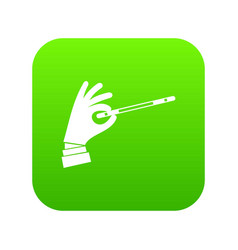 Magician hand with a magic wand icon digital green vector