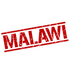 Malawi red square stamp vector