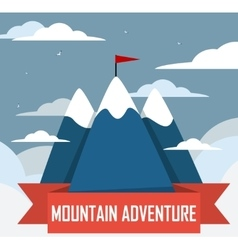 Mountain tourist flat icon with long shadow vector image