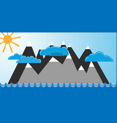 Mountains in blue ocean vector