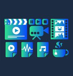 movie industry cinema sticker set vector image