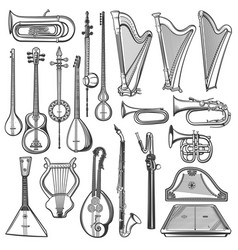 Musical instruments isolated sketch music objects vector