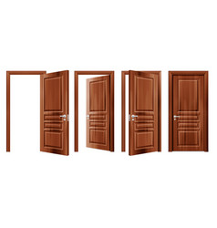opened and closed doors realistic set vector image