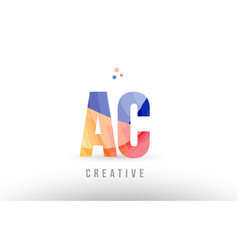 Orange blue alphabet letter ac a c logo icon vector