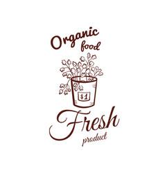organic food monochrome emblem vector image