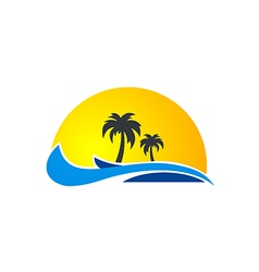 Palm tree ocean wave beach tropic logo vector